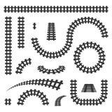 Ilustração criativa do vetor da estrada de ferro curvada isolada no fundo Projeto reto da arte das trilhas Para possuir o tapume  ilustração stock