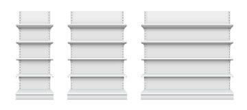 Ilustração criativa do vetor das prateleiras de loja vazias isoladas no fundo Projeto varejo da arte da prateleira Mostra gráfica Fotos de Stock