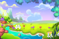 Ilustração criativa e arte inovativa: Desenhos animados bonitos Forest Land ilustração royalty free
