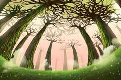 Ilustração criativa e arte inovativa: Floresta do mistério ilustração do vetor