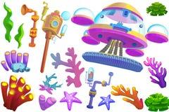 Ilustração criativa e arte inovativa: Sob o mar o objeto ajustou 4 Imagem de Stock