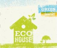 Ilustração criativa orgânica do vetor da casa de Eco no fundo de papel reciclado Foto de Stock Royalty Free