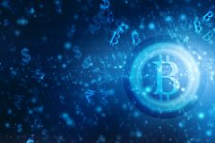 Ilustração cripto do fundo da tecnologia de Blockchain da moeda de Bitcoin do sumário de Lobal ilustração do vetor