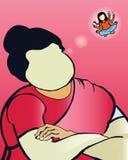 Ilustração cultural tradicional do vetor da mulher do traje na mulher gorda que sonha - vetor ilustração stock