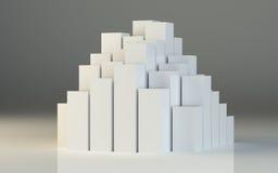 Ilustração 3d abstrata das caixas brancas Fotografia de Stock Royalty Free