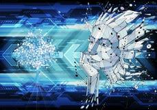 Ilustração 3d artística abstrata de pontos conectados coloridos e linhas da cara de um homem em um fundo futurista moderno ilustração stock