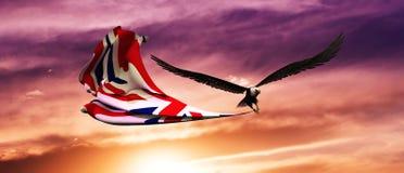 ilustração 3d da águia e da bandeira que flutuam no vento ilustração stock