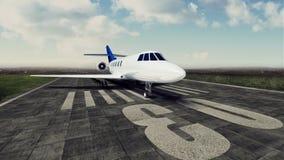 ilustração 3d da aterrissagem de avião no aeroporto Chegada do conceito dos aviões Foto de Stock Royalty Free