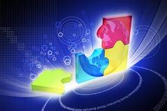 ilustração 3d da carta de negócio colorida do anel Fotografia de Stock