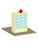 A ilustração 3D da construção do hospital rende ilustração stock