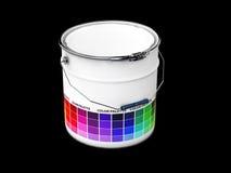 ilustração 3d da cubeta com guia da paleta colorida, preto isolado Imagem de Stock