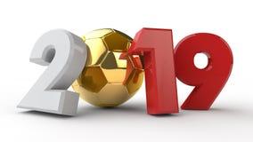 ilustração 3D da data 2019, com uma bola de futebol A ideia para o calendário, rendição 3D do campeonato do mundo, a data da vitó ilustração royalty free