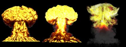 ilustração 3D da explosão - explosão diferente altamente detalhada enorme do cogumelo atômico de 3 fases da bomba de hidrogênio c ilustração stock