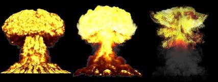 ilustração 3D da explosão - explosão diferente altamente detalhada grande do cogumelo atômico de 3 fases da bomba de fusão com fu ilustração royalty free