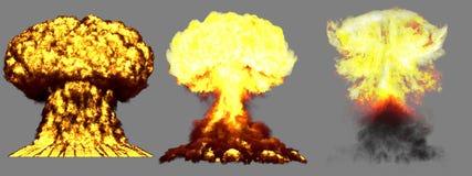ilustração 3D da explosão - explosão diferente muito altamente detalhada grande do cogumelo atômico de 3 fases da bomba super com ilustração royalty free