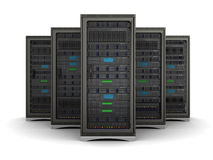 ilustração 3d da fileira as cremalheiras do servidor Foto de Stock Royalty Free