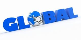 ilustração 3d da palavra com um cursor do globo e do rato Ilustração Stock