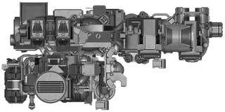 ilustração 3d da tecnologia abstrata do equipamento industrial Foto de Stock