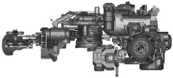 ilustração 3d da tecnologia abstrata do equipamento industrial Fotos de Stock