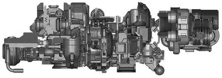 ilustração 3d da tecnologia abstrata do equipamento industrial Fotografia de Stock Royalty Free