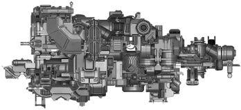 ilustração 3d da tecnologia abstrata do equipamento industrial Foto de Stock Royalty Free
