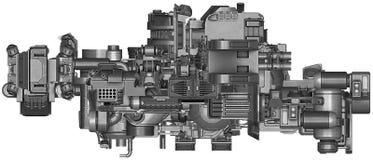 ilustração 3d da tecnologia abstrata do equipamento industrial Fotos de Stock Royalty Free