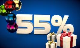 ilustração 3d da venda do Natal um disconto de 55 por cento ilustração stock