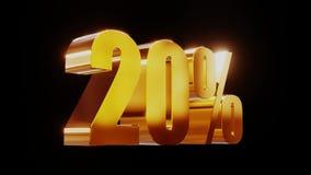 Ilustração 3d da venda 20% do ouro vídeos de arquivo