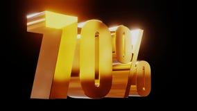 Ilustração 3d da venda 70% do ouro video estoque