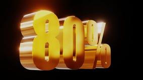 Ilustração 3d da venda 80% do ouro video estoque