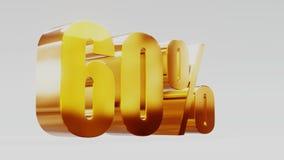 Ilustração 3d da venda 60% do ouro vídeos de arquivo