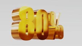 Ilustração 3d da venda 60% do ouro video estoque