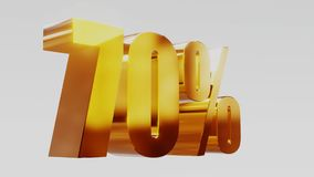 Ilustração 3d da venda 70% do ouro vídeos de arquivo