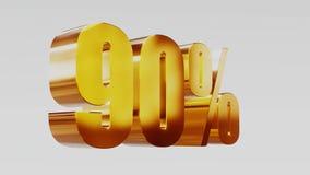 Ilustração 3d da venda 80% do ouro filme