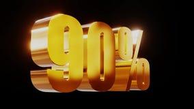 Ilustração 3d da venda 90% do ouro video estoque