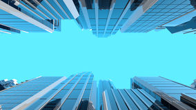 ilustração 3D de arranha-céus de vidro modernos Fotos de Stock Royalty Free
