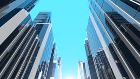 ilustração 3D de arranha-céus de vidro modernos Imagem de Stock Royalty Free