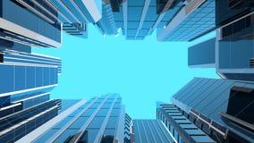 ilustração 3D de arranha-céus de vidro modernos Imagens de Stock Royalty Free