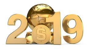 ilustração 3D de 2019 e a terra dourada do planeta com moedas do dólar americano A ideia para o calendário, um símbolo do desenvo ilustração do vetor