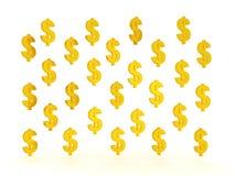 ilustração 3D de muitos símbolos dourados do dólar Imagens de Stock