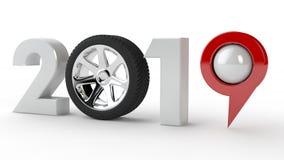 ilustração 3D de 2019, o milênio novo, um símbolo com uma roda de carro e um pino da navegação de GPS, a ideia de developmen da t ilustração do vetor