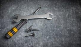 ilustração 3d de reparar a chave da ferramenta, o martelo de garra, e a chave de fenda Imagens de Stock Royalty Free