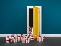 ilustração 3d de sair infinito das caixas de presente de uma porta Imagem de Stock Royalty Free
