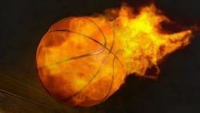 ilustração 3D de um basquetebol do fogo Imagens de Stock Royalty Free