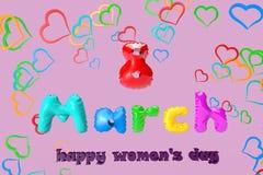 ilustração 3D de um cartão com o 8 de março em um fundo de corações coloridos ilustração royalty free