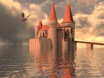 ilustração 3D de um castelo na água e no dragão Fotografia de Stock