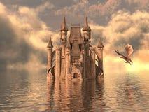 ilustração 3D de um castelo na água e no dragão Imagem de Stock