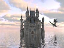 ilustração 3D de um castelo na água e no dragão Foto de Stock Royalty Free