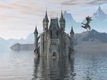 ilustração 3D de um castelo na água e no dragão Imagens de Stock