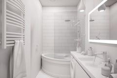 ilustração 3d de um design de interiores de um banho minimalista branco Ilustração do Vetor